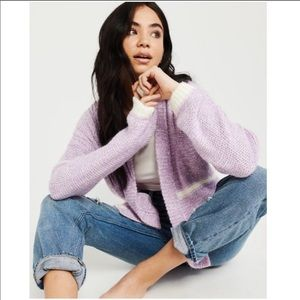 Abercrombie & Fitch Purple Cream Fuzzy Cardigan